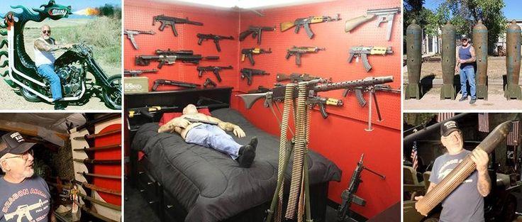 """Самый вооруженный человек в Америке http://kleinburd.ru/news/samyj-vooruzhennyj-chelovek-v-amerike/  Коллекционера оружия Dragon Man называют """"самым вооруженным человеком в Америке"""", так как более 200 пулеметов, танки и базуки зарегистрированы на его имя. Мэл Бернштейн (Mel Bernstein) получил свое прозвище благодаря мотоциклу с огнедышащим драконом, на котором он ездит внутри своего огромного частного военного музея, известного как Земля драконов. Рай любителя оружия в округе Эль-Пасо…"""