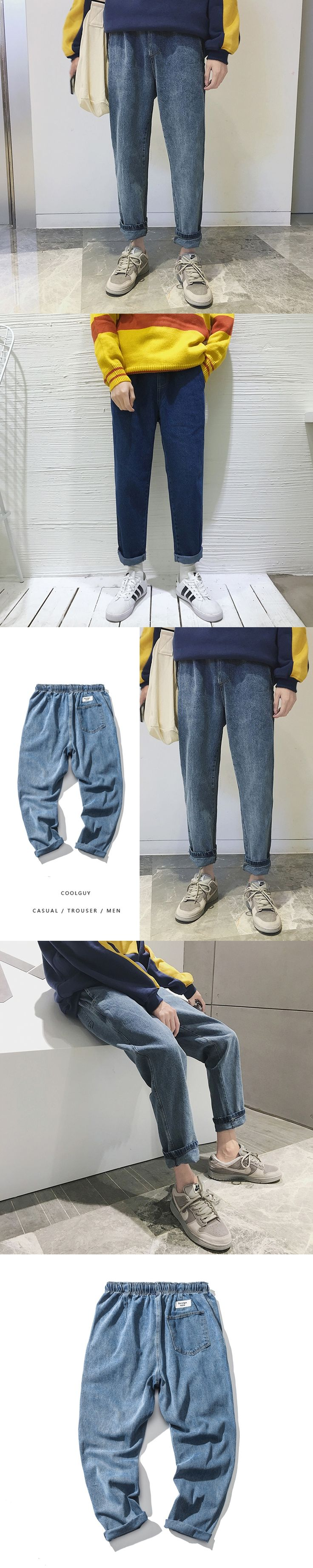 2017 Winter New Men's Korean Style Wide Leg Jeans Elastic Waist Solid Color High Quality Pants Loose Casual Warm Trousers M-2XL