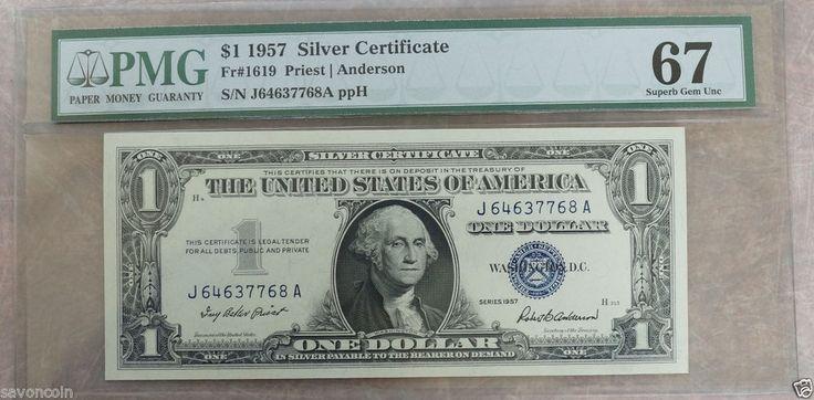 1957 1 silver certificate blue seal fr1619 priest