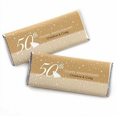 50th Anniversary - Personalized Wedding Anniversary Candy Bar Wrapper Favors < + more 50th anniversary party supplies & decorations
