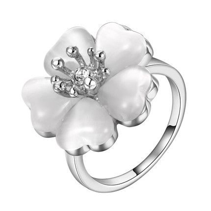 Модное платиновое платиновое кольцо из белого Rhinestone для женщин GPR219