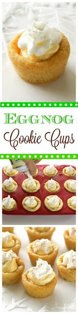 These Eggnog Cookie Cups are sugar cookie cups filled with a creamy eggnog filling. Super easy and festive for Christmas! http://the-girl-who-ate-everything.com
