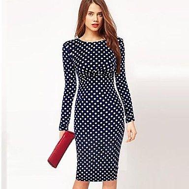 Women's A-Line Polka Dots Bodycom Long Sleeve Dress - USD $ 18.33
