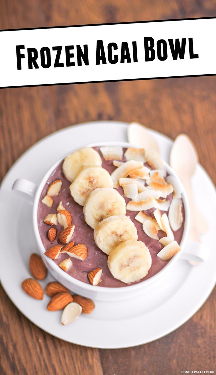 Açaí Bowl Ice Cream! Just 4 ingredients, low calorie, low fat and high protein. I like to top my Açaí Bowl Ice Cream with sliced bananas. For some crunch, I go with chopped almonds. For some chewy texture and tropical flavor, I go with unsweetened flaked coconut.