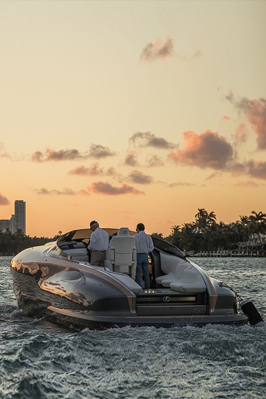 Experience Lexus power on the open ocean. The Lexus Sport Yacht concept is powered by twin high-performance Lexus V8 engines producing 440 horsepower each. This luxury concept debuted at Di Lido Island on Biscayne Bay in Miami Beach, FL.