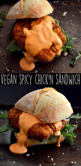 Vegan Spicy Fried Chicken Sandwich - 4 Vegan Fried Chicken Recipes - Seitan - Wheat Meat - Soy Free - Rich Bitch Cooking Blog