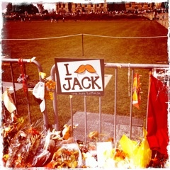 Jack Layton mustache sign.