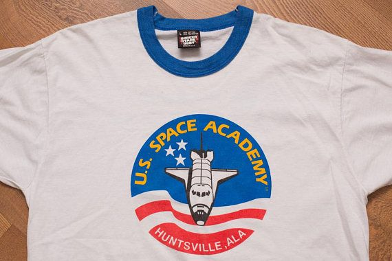 US Space Academy Ringer T-Shirt, Huntsville Ala, Vintage 90s, Rockwell International, NASA Astronaut, Outerspace Shuttle, Screen Stars Best