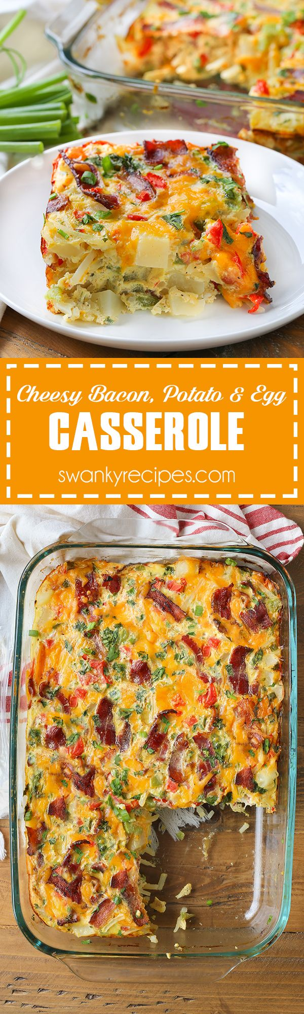 Cheesy Bacon, Potato and Egg Casserole - Quick, easy and packed full of flavor. This breakfast casserole recipe is just what your morning needs! Made with fresh vegetables, crispy bacon, cheese and eggs, this dish is made to feed a crowd.