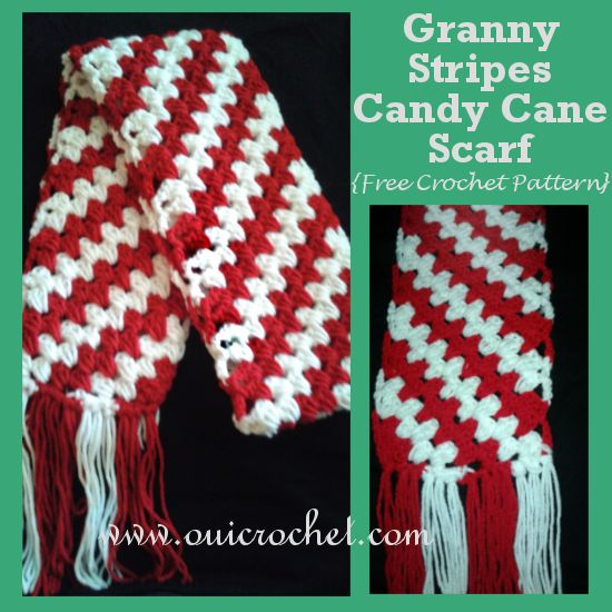 Granny Stripes Candy Cane Scarf {Free Crochet Pattern}
