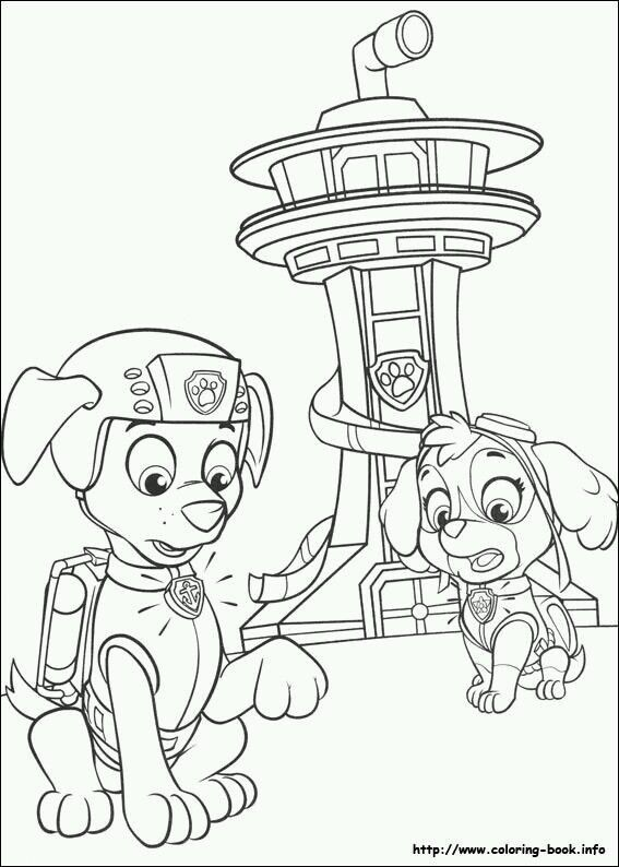zuma and skye paw patrol coloring pages - Paw Patrol Coloring Book