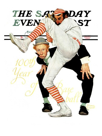 """100th Anniversary of Baseball"" Saturday Evening Post Cover, July 8,1939  Norman Rockwell"