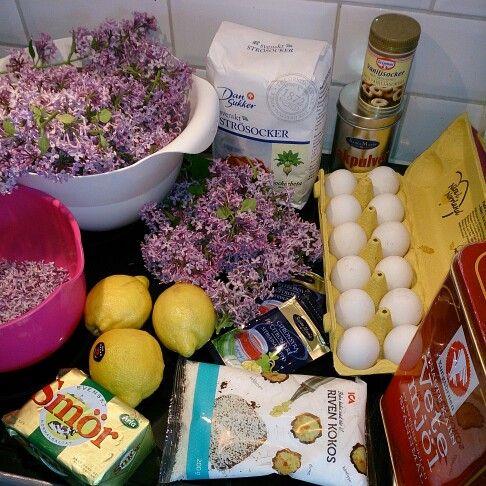 Ingredienser till min syrenkaka