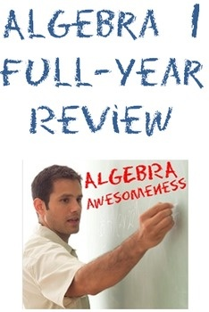 #Algebra 1 Full-Year Review: 14 Worksheets of Final Exam Review over 7 units.  Almost 100 slides of notes + student handouts + additional Promethean file. #math