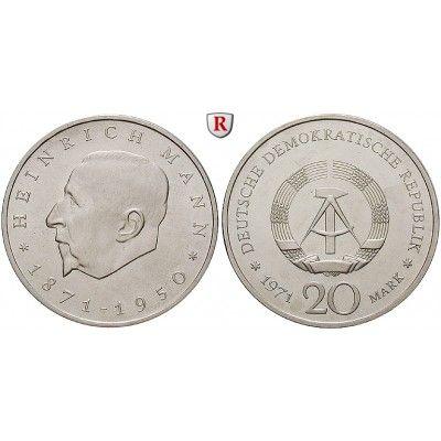 DDR, 20 Mark 1971, Heinrich Mann, vz, J. 1531: Kupfer-Nickel-20 Mark 1971. Heinrich Mann. J. 1531; vorzüglich 5,00€ #coins