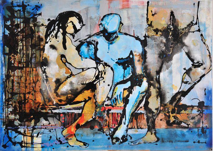 cloak-room , mixed media 100x140 cm canvas