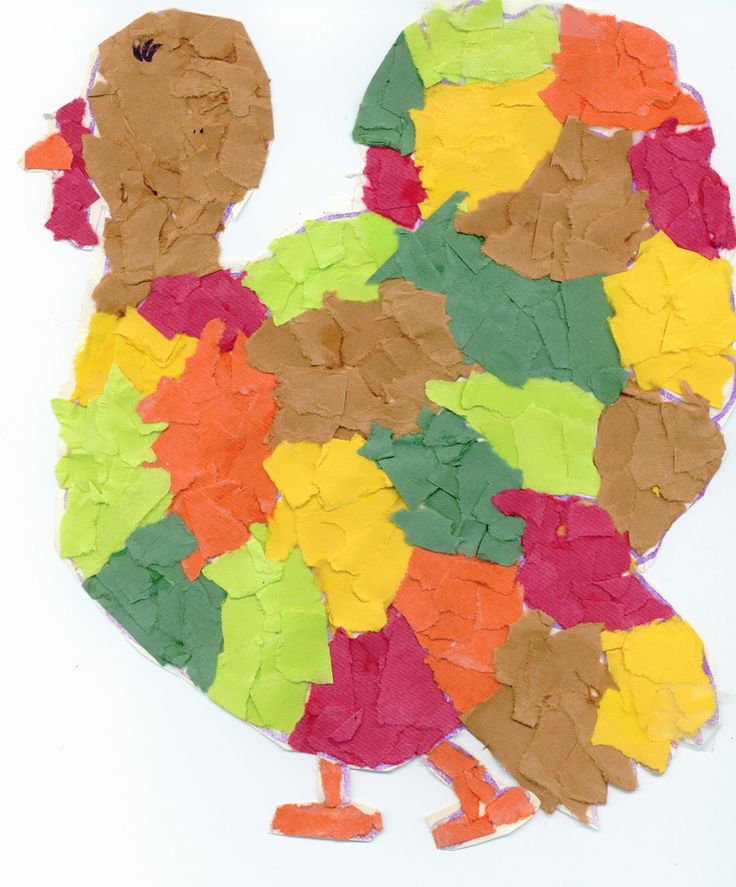 Tom Turkey Torn Paper Collage | Thanksgiving Art Projects for Kids | Easy collage craft for second grade. Kids love ripping small pieces of paper!