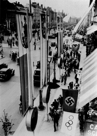 Berlin Street Decorated for 1936 Olympics