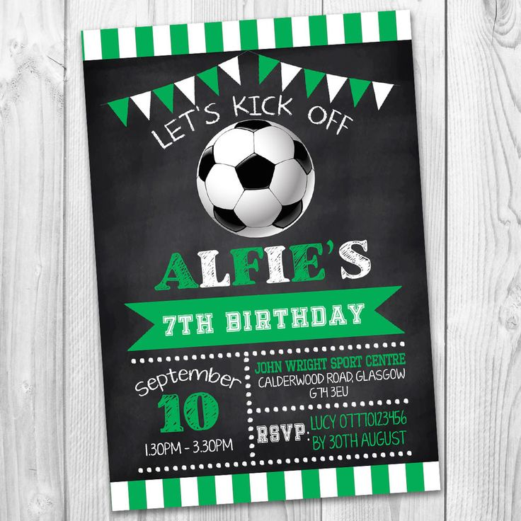 BOYS GIRLS FOOTBALL SPORT PERSONALISED PARTY INVITATIONS KIDS INVITES BIRTHDAY   | eBay