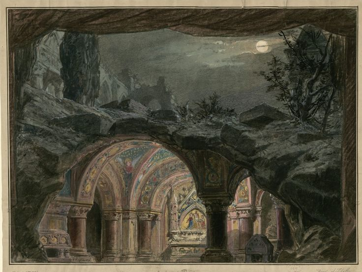 "Set design (1872), by Philippe Chaperon (1823-1906), for Act 5 of ""Roméo et Juliette"" (1867), by Charles Gounod (1818-1893)."