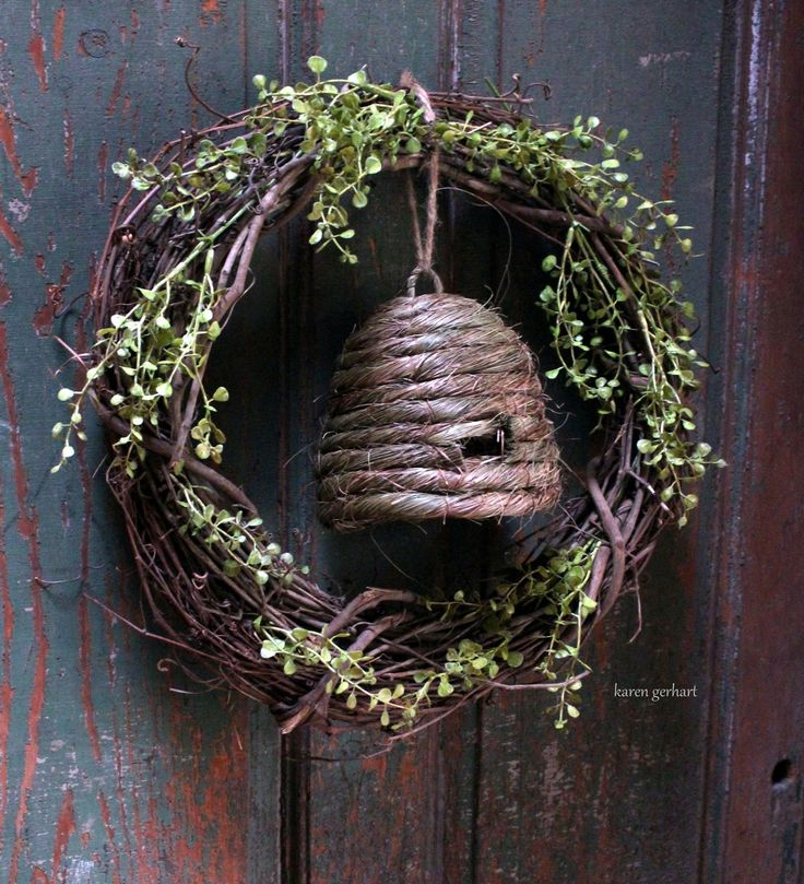 Primitive Wreath Country Porches Shop Displays Spring Wreaths Bee Skep Ideas Easter Decor Front Doors Primitives