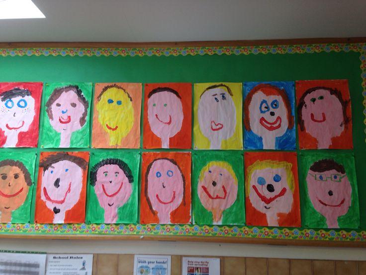 Junior infants 'Self portraits' Art. SPHE. Gaeilge-mé féin. Oral language.
