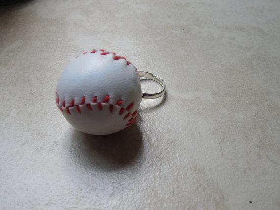 Baseball ring adjustable silver plated ring with by TheFestiveFan, $8.00