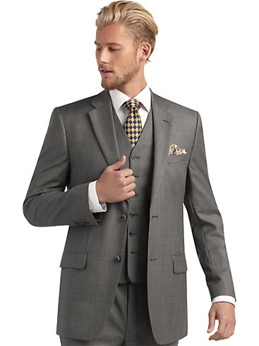 Suits - Joseph & Feiss Gold Vested Suit, Gray Sharkskin ...