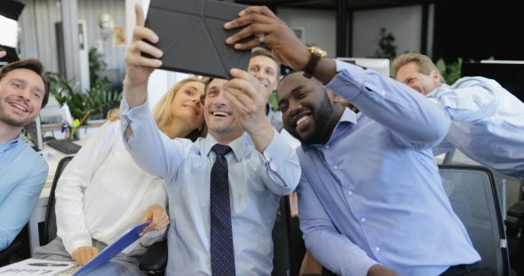 Group Of Business People Taking Selfie Photo On Tablet Computer In Modern Office, Modern Team Make