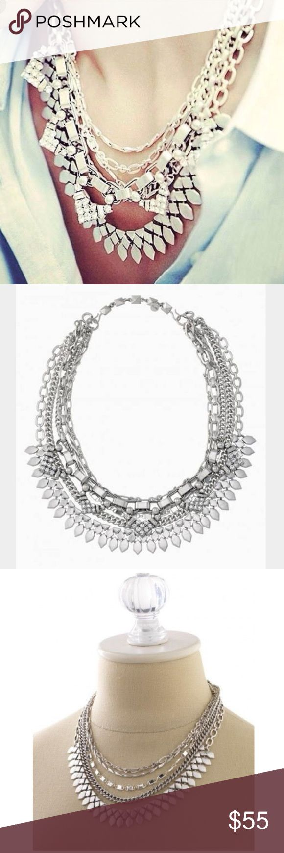 "Stella & Dot Sutton Necklace - Silver 5-in-1 statement necklace compliments any outfit! Wear it long and loose for a laid-back look, clasped into a statement when you're feeling bold, plus or minus the sparkle strand, or just the sparkle when you're in the mood to shine. Mix of vintage and shiny silver plating.  15"" with 3"" extender for shortest necklace. 31.5""longest Stella & Dot Jewelry Necklaces"