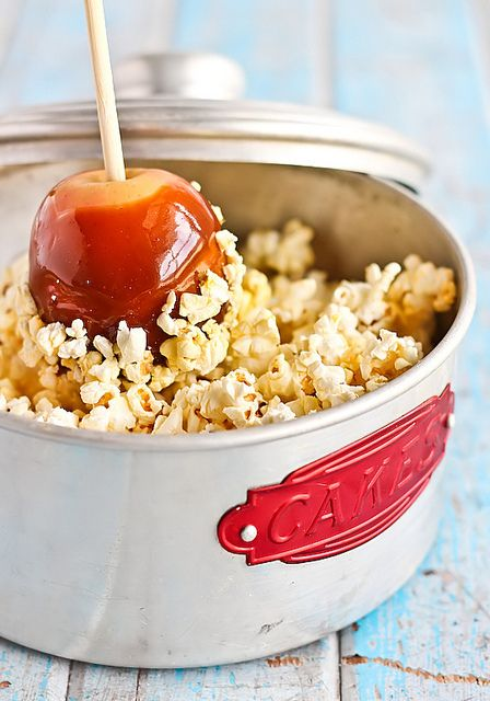 Fall party treats:Salted Caramel Apples with Popcorn