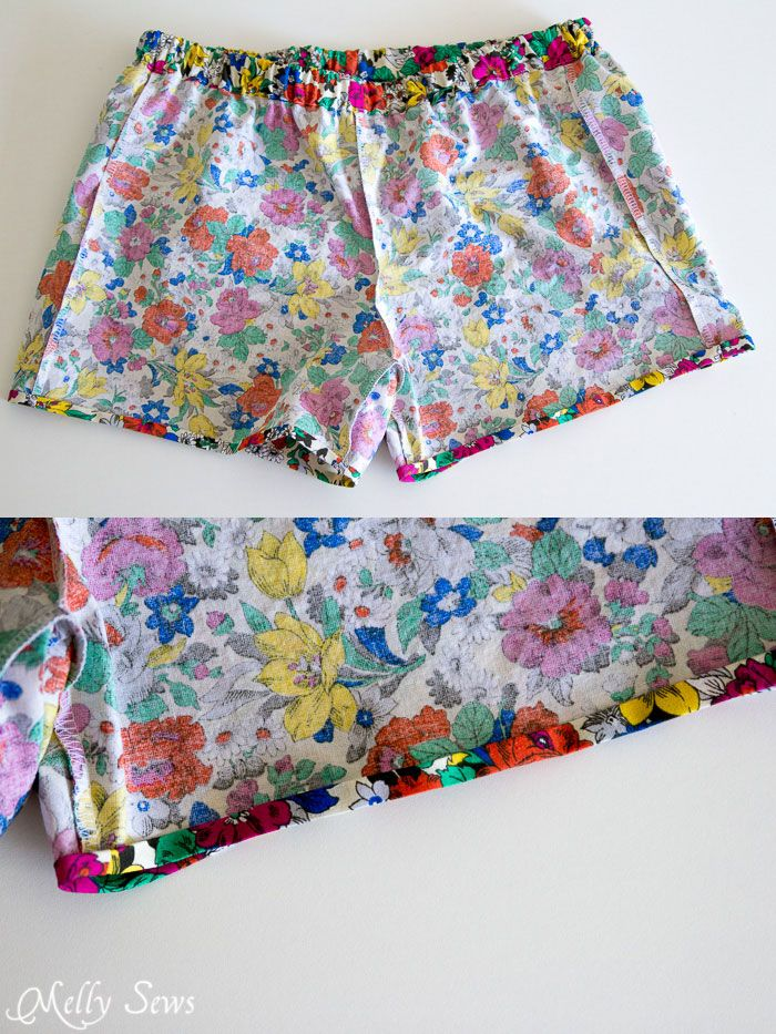 Sew Pajama Shorts - Easy Project with Free Pattern - Melly Sews