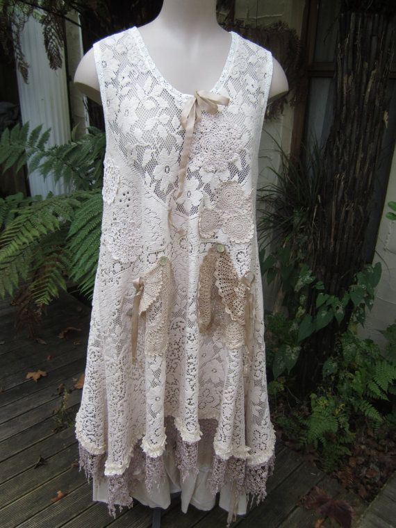 Vintage Kitty.. Lily Hannah...upcycled FLORAL lace TUNIC dress..roses.. crochet, doilies, ooak.. med - xl