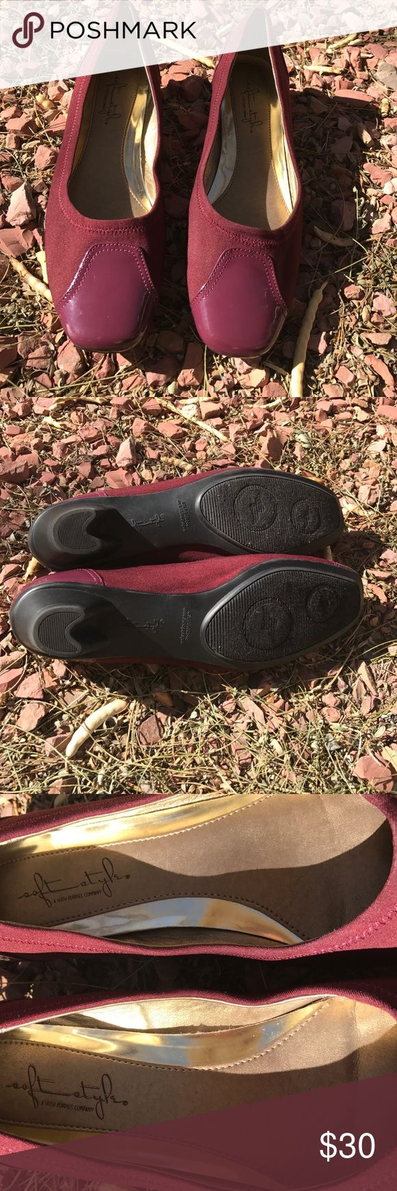 Like new Merlot colored Shoes Beautiful never warn Soft Style By Hush Puppies shoes heel is very low,size 9.5 M Soft Style By Hush Puppies Shoes