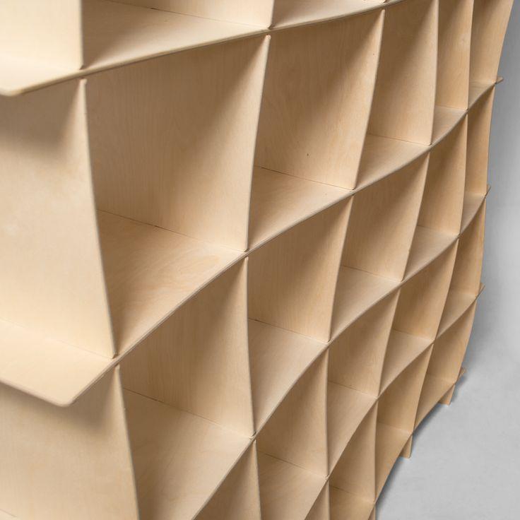 wave wood modern bookcase