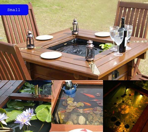 Fish pond in a backyard table - 22 Small Garden or Backyard Aquarium Ideas Will Blow Your Mind