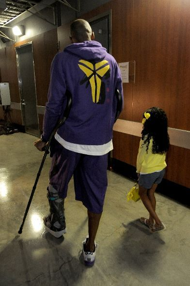 Kobe and his daughter Gianna Maria-Onore Bryant prior to Game 4. (April 28, 2013 | Game 4 | Western Conference Quarterfinals | San Antonio Spurs @ Los Angeles Lakers | Staples Center in Los Angeles, California)