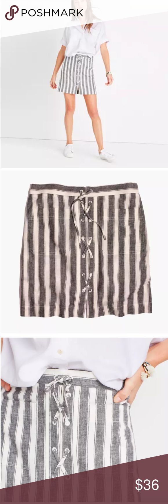 Madewell Laced Up Linen Striped Skirt Size 8 NEW! Brand new with tags! Striped linen/cotton skirt with a nautical vibe. Two patch pockets in the front. No fuss back zip up for convenience. 17 inches long. Machine washable. Smoke free home. Madewell Skirts Mini