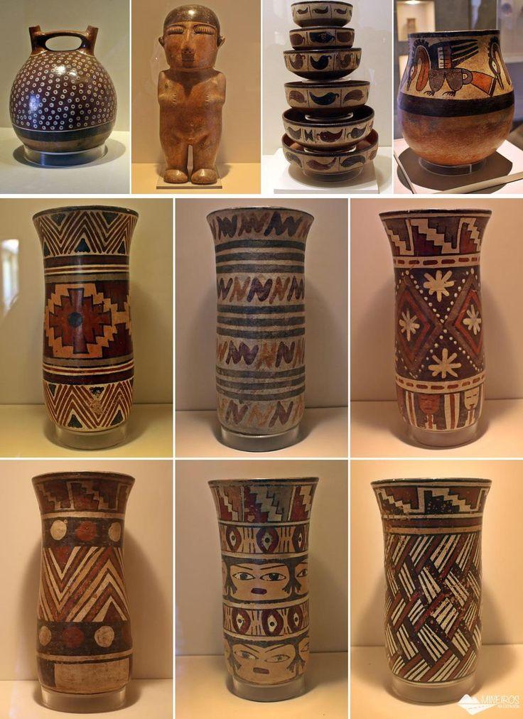 Vasos do povo nasca, expostos no Museu de Arte Precolombino, em Cusco. Vase Shapes, Archaeology, Maya, Nativity, Mandala, Culture, Ceramics, Inspiration, School