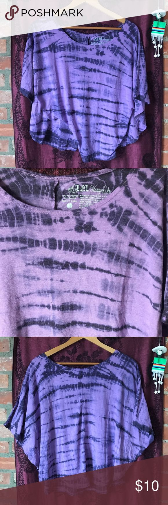purple tie dye top hippie festival crop shirt sexy purple tie dye top. great for hippie festivals. batwing style crop top shirt. size large. Urban Outfitters Tops Tunics