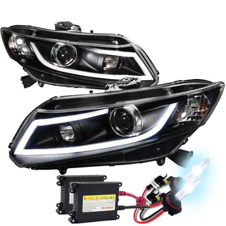 HID Xenon + 12-15 Honda Civic Sedan / 12-13 Coupe DRL LED Projector Headlights - Black