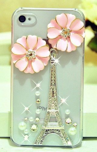 Pink Flowers Luxury 3D Handmade Tower Crystal Case Cover Skin For IPhone5 #Electronicgadgets.
