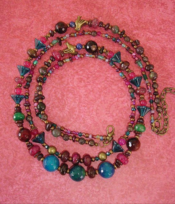Boho Necklace Colorful Jewelry Beaded Necklace Boho by BohoStyleMe