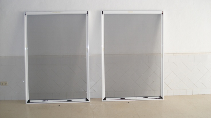 Showing 2 pull down mosquito screens built into aluminum frames, ( Not standard ) Made by http://mosquitonick.ws