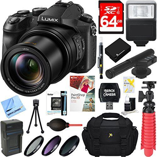 Panasonic LUMIX DMCFZ2500 201 MP 20x F2845 Leica Optical Zoom Digital Camera  MIC403 Mini Zoom Microphone  64GB Accessory Bundle ** You can find more details by visiting the image link.