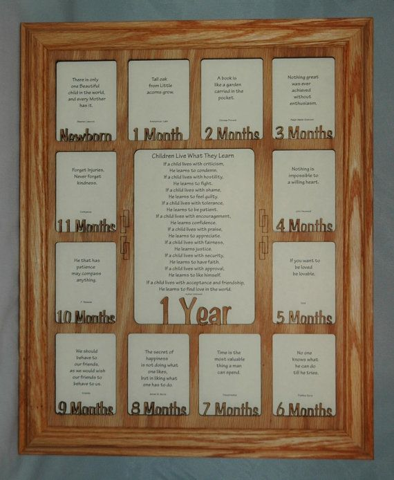 Newborn Baby Months First Year with Name Collage Oak Picture Frame and Oak Matte 11x14