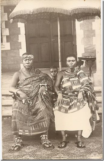 Quite a rare image of the King of the Asante, the Asantehene Prempeh I, (ruled 1888 – 1931) accompanied by the Queenmother.