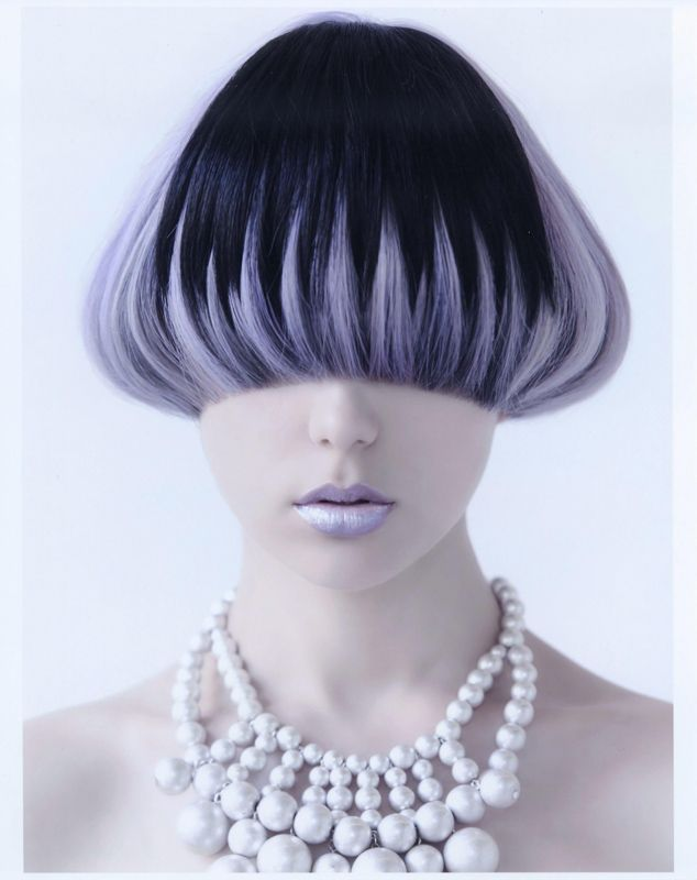 Short black and pastel purple (lavender) hair. I like the design but not the mushroom effect.