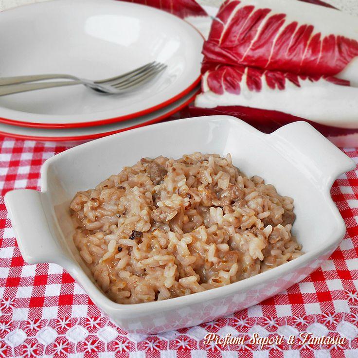 Risotto al radicchio rosso e salsiccia piccante
