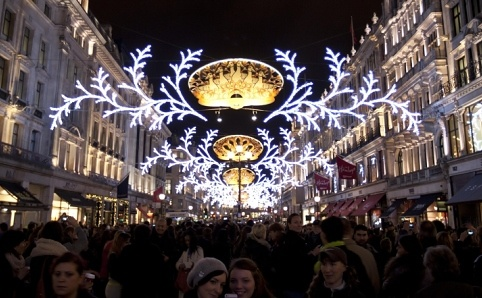 Regent Street Christmas Lights 2012 - GB Olympic athletes and a performance from 'Matilda the Musical'